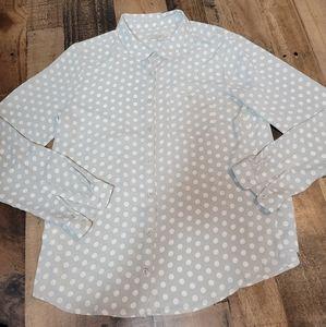 M Loft Polka Dot Button Up Blouse